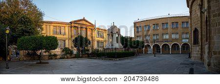 Nicosia, Cyprus, March 2017: Panorama of Faneromeni Square with Marble Mausoleum and Faneromeni School in Nicosia city centre Cyprus