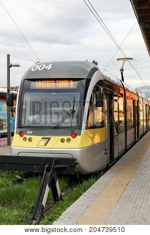 Bergamo, Italy - April 15, 2016: The tramway in the city of Bergamo, Italy. The tramway connects the city of Bergamo to Albino since 2009