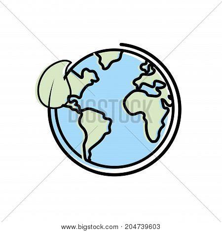 earth planet with ecological leaf design vector illustration