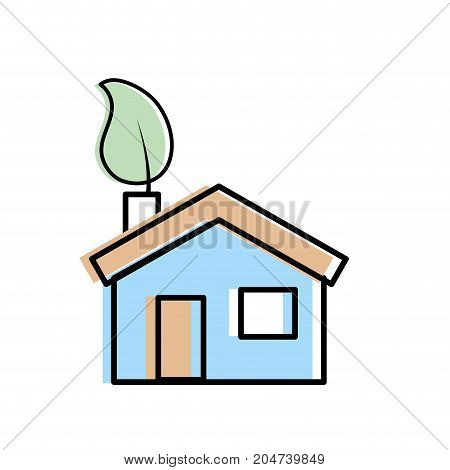 house with ecological leaf to environment care vector illustration