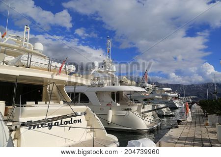 july 2017 Montenegro. Luxury yacht at the pier of the marina in Budva