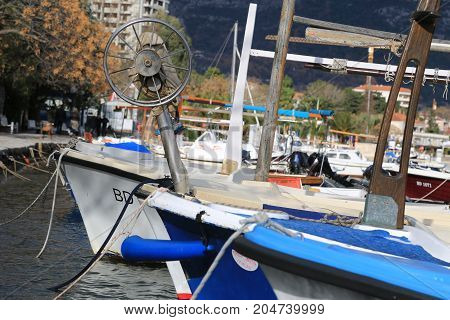 july 2017. Montenegro,  Boats of fishermen in the marina of Budva
