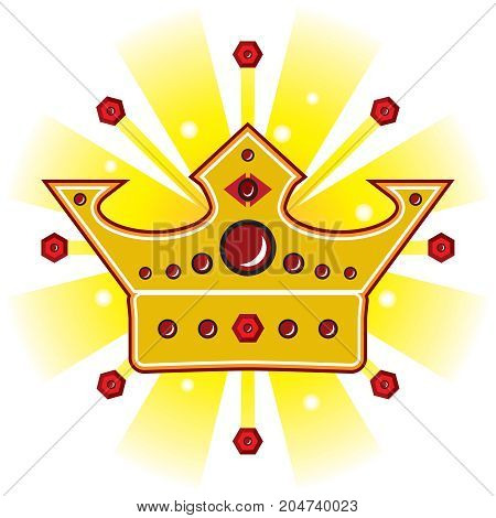 Bright shiny royal crown is surrounded by jewels