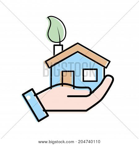 hand with house with ecological leaf to environment care vector illustration