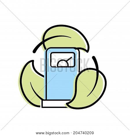 gas machine with ecological leaves around vector illustration