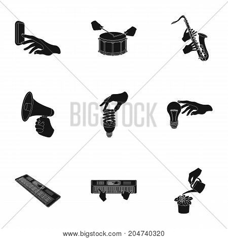 Musical instrument, garbage and ecology, electric appliance and other  icon in black style. Megaphone, finishing checkered flag, gesture and manipulation with hands icons in set collection.