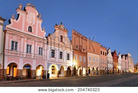 Evening red colored view of Telc or Teltsch town square Czech republic. world heritage site by unesco