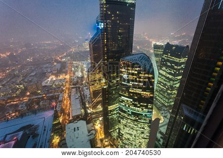 february 2017. Russia. Moscow. Night view from the 75th floor of the tower Oko. Business center  Moscow City