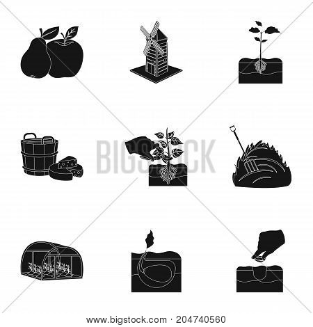 Farm, ecology, nature and other web icon in black style. Soil, manure, plot, icons in set collection.