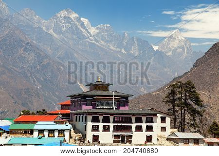 Tengboche Monastery with stupa and prayar wall the best monastery in Khumbu valley trek to Everest base camp Sagarmatha national park Nepal