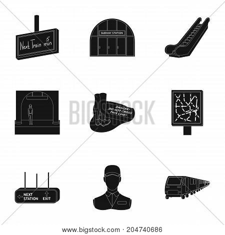 Train, means, movement and other  icon in black style.Equipment, transport, public, icons in set collection.