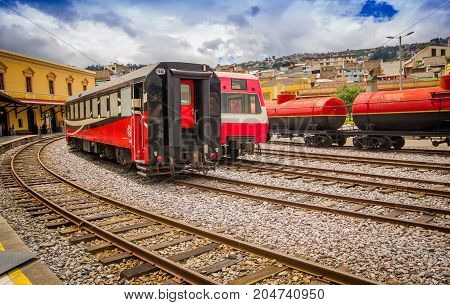 QUITO, ECUADOR AUGUST 20 2017: Ecuadorian steam colomotive in chinbacalle trains museum, located in the city of Quito, Ecuador.