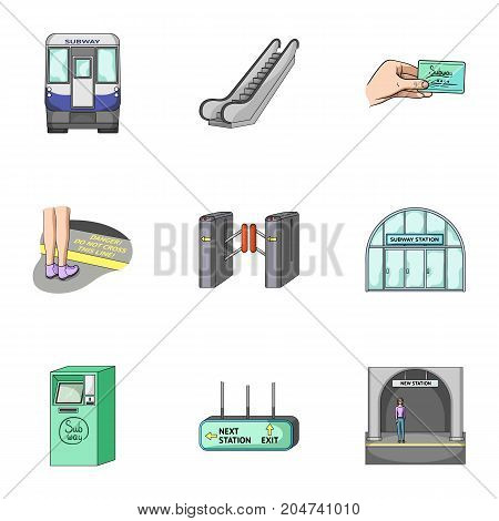 Train, means, movement and other  icon in cartoon style.Equipment, transport, public, icons in set collection.