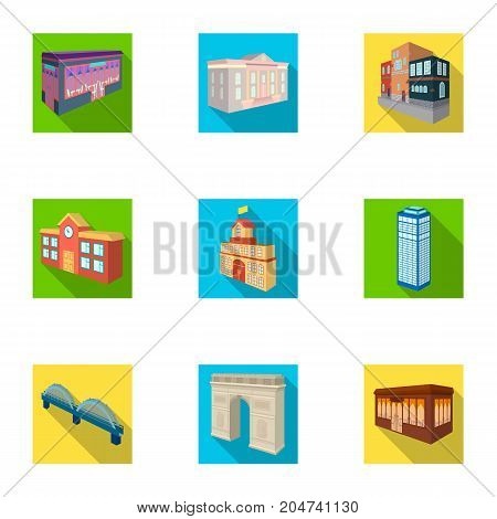 Municipality building, bank office building, stable, wooden hut, bridge and other architectural structures. Architecture and facilities set collection icons in flat style vector symbol stock illustration .