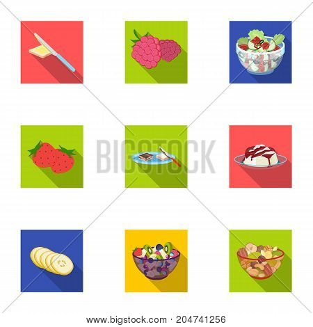 Fruit, dessert, sandwiches and other types of food. Food set collection icons in flat style vector symbol stock illustration .