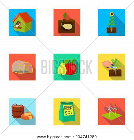 Farm, ecology, nature and other web icon in flat style. Soil, manure, plot, icons in set collection.