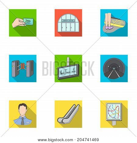Train, means, movement and other  icon in flat style.Equipment, transport, public, icons in set collection.