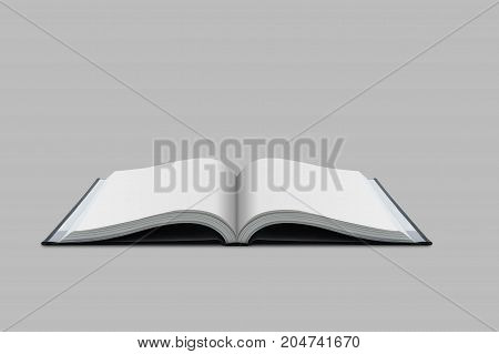Mockup of opened blank book at white design paper background - clipping part.