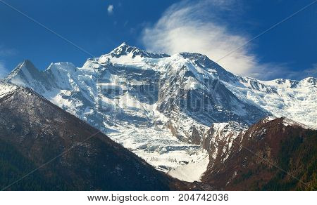 Vew of top Annapurna 2 II from Upper Pisang Round Annapurna circuit trekking trail Nepal