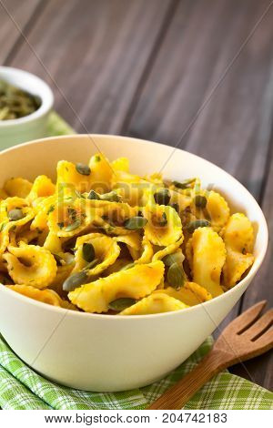 Pasta with pumpkin and parsley sauce sprinkled with pumpkin seeds and served in a bowl photographed with natural light (Selective Focus Focus in the middle of the dish)