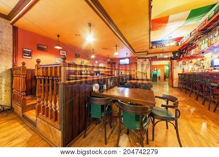 MOSCOW - AUGUST 2014: Interior of the Irish pub and sports bar