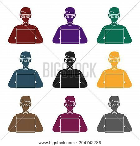 Hacker icon in black style isolated on white background. Crime symbol vector illustration.