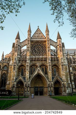 London, England, April 2017: Front entrance to St Margaret's Church in Parliament Square London
