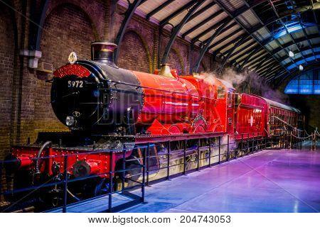 London, England, April 2017: Hogwarts Express at platform 9 3/4 in Warner Brothers Harry Potter Studio Tour London