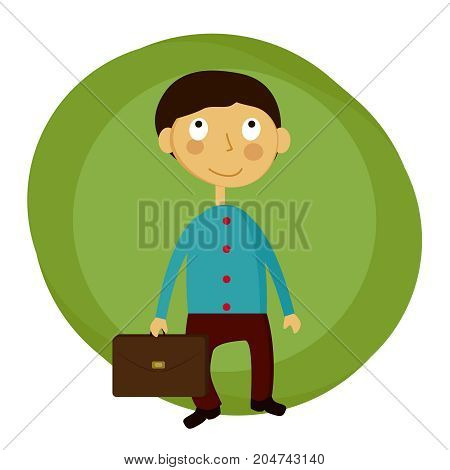 happy schoolboy with a backpack sudent, vector sign, banner, illustration