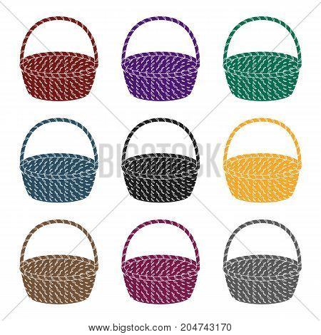 Wicker basket made of twigs. Easter single icon in black style vector symbol stock web illustration.