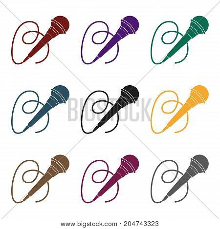 Microphone icon in black style isolated on white background. Event service symbol vector illustration.