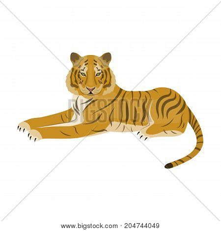 Tiger, a predatory animal. The Belgian tiger, a large wild cat single icon in cartoon style vector symbol stock illustration .