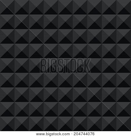 Seamless black abstract geometric dark shadow facet pattern