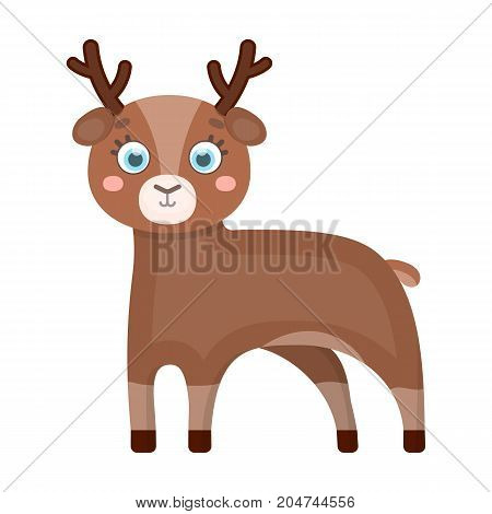 Deer, single icon in cartoon style.Deer vector symbol stock illustration .