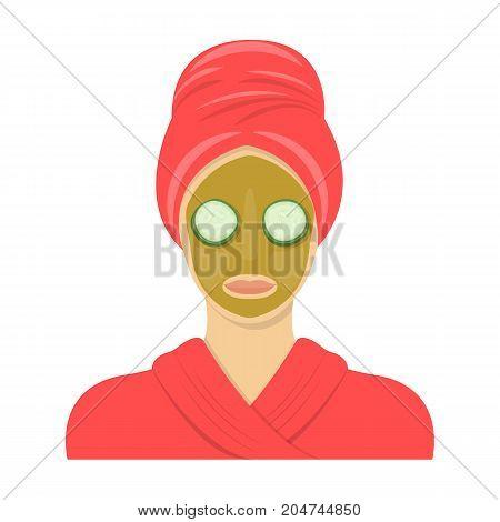 Mask, single icon in cartoon style.Mask, vector symbol stock illustration .