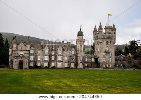 Balmoral, Scotland, April 2017: Balmoral Castle view with a tower Aberdeenshire Scotland