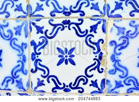 Typical old tiles of Portugal detail of a classic ceramic tiles azulejo art of Portugal