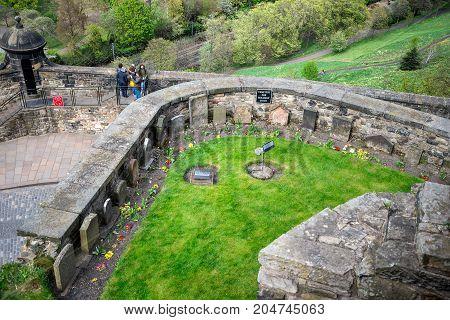 Edinburgh, Scotland, April 2017: A view from top to Soldier's Dogs Cemetery in Edinburgh Castle Scotland