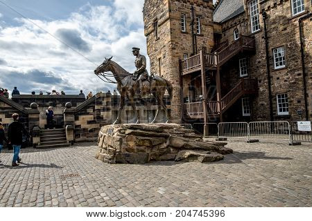 Edinburgh, Scotland, April 2017: A statue of Earl Haig riding a horse in one of the inner yards at Edinburgh Castle Scotland