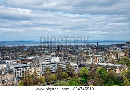 Edinburgh, Scotland, April 2017: A view to Edinburgh city and river Forth from the castle wall Scotland