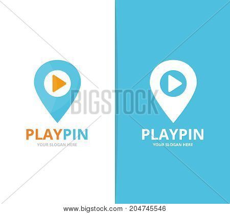 Vector of map pointer and button play logo combination. GPS locator and record symbol or icon. Unique pin and audio, video logotype design template.