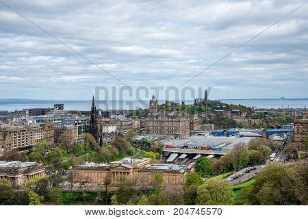 Edinburgh, Scotland, April 2017: A city view from Edinburgh Castle Scotland