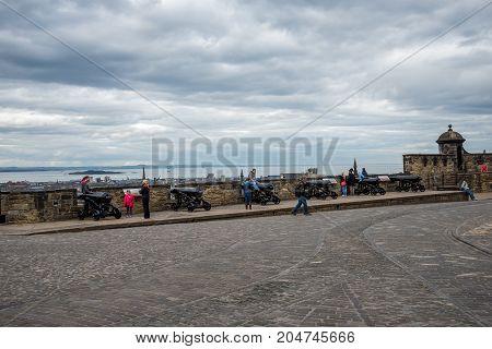 Edinburgh, Scotland, April 2017: Argyle battery cannons in Edinburgh Castle Scotland