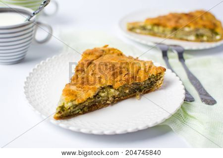 Homemade Pie With Cheese And Spinach