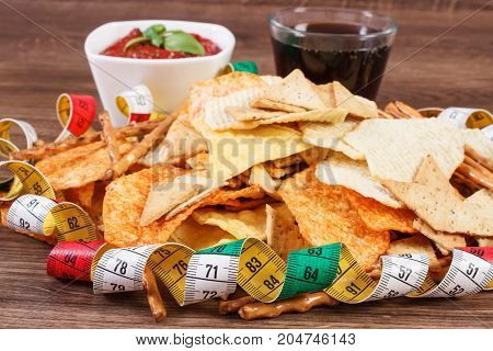 Tape Measure, Unhealthy Food, Sauce With Basil And Cola On Wooden Board