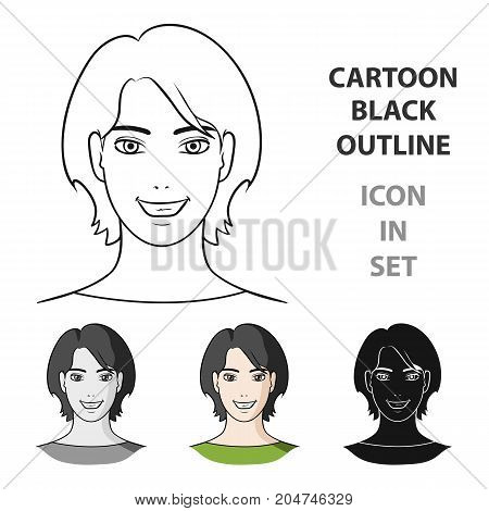 Avatar girl with short hair.Avatar and face single icon in cartoon style vector symbol stock web illustration.