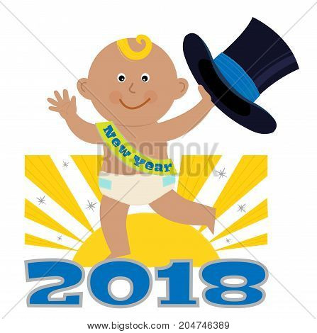 Cute cartoon of a New Year baby holding a top hat and standing on the number 2018. Eps10
