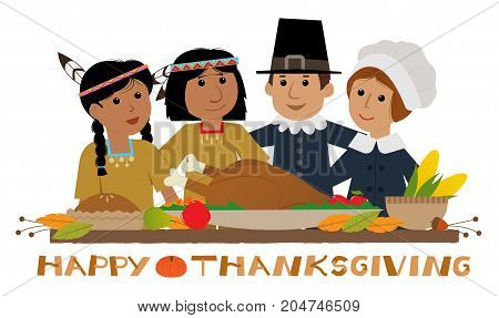 Thanksgiving sign with pilgrims and natives standing around a holiday table. Eps10