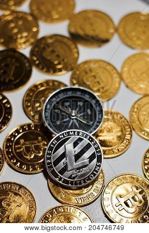 Litecoin Coin And Compass