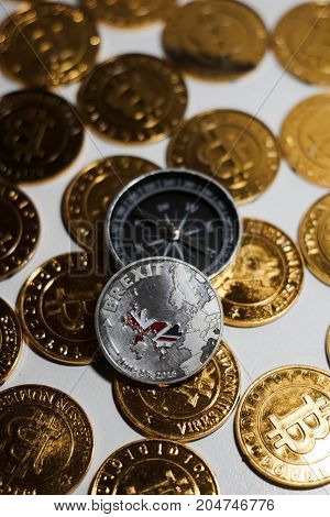 Brexit Coin Near Compass